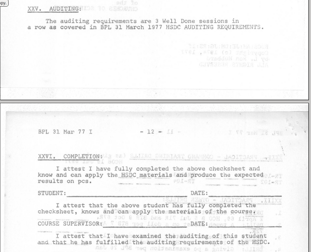 BPL 31. March 1977 I Hubbard Standard Dianetics Course Checksheet